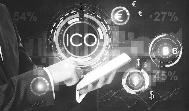 Side view of businessman hands using abstract ICO initial coin offering interface. Bitcoin concept. 3D Rendering